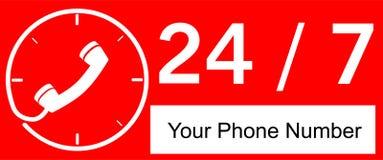 24 Stunde Call-Center lizenzfreie abbildung