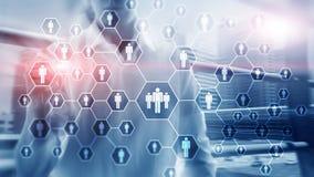 Stunde, Personalwesen-, Einstellungs-, Organisationsstruktur und Konzept des Sozialen Netzes stockfotografie