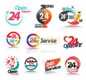 24 Stunden öffnen Kundendienstsammlung stock abbildung
