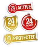 24 Stunden aktiv und 24 Stunden geschützt lizenzfreie abbildung