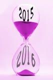 Stunden-Glas 2015 bis 2016 Stockfotos