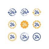 24 Stunden, offene Zeit, Service-Zeitraum, Kundenbetreuung, Linie Ikone Lizenzfreie Stockfotos