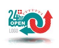 24 Stunden Service-Fahne Stockbild