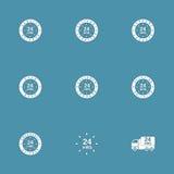 24 Stunden Service-Vektor-Ikonen-Satz- Stockbild