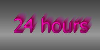 24 Stunden Umgeben Sie die Phrase in der Textzahl Rund um die Uhr Arbeit Vektorillustration der rosa Farbe Lizenzfreies Stockfoto