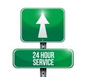 24 Stundenservice-Straßenschildillustrationsdesign Lizenzfreie Stockfotografie