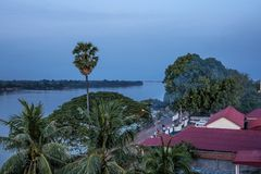 Stung Treng city at the Mekong River in Laos stock images