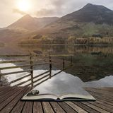 Stuning Autumn Fall landscape image of Lake Buttermere in Lake D Royalty Free Stock Photography
