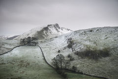 Stuning Winter landscape image of Chrome Hill and Parkhouse Hill. Beautiful Winter landscape image of Chrome Hill and Parkhouse Hill in Peak District England Royalty Free Stock Photos