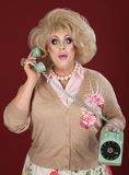 Stunned Drag Queen On Phone Call Royalty Free Stock Photos