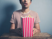 Stunned man with popcorn Royalty Free Stock Images