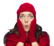 Stunned Mixed Race Woman Wearing Winter Hat and Gloves Stock Photography