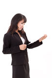 Stunned, surprised, negative, frustrated asian business woman Stock Image
