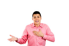 Stunned young man with a hand on chest Royalty Free Stock Photo