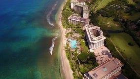 Stunning aerial footage of luxurious resort hyatt ,clean coastline and crystal blue pacific ocean on island maui,hawaii stock video footage