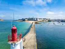 Stunning aerial of Saint Malo in Brittany France with a Lighthouse in the foreground Stock Image