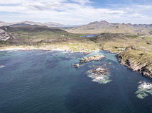 Stunning aerial shot of Ardnamurchan Point, Great Britains most westerly point, with the beautiful white beaches and. Costline in the background, Scotland Stock Photos