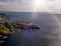 Stunning aerial shot of Ardnamurchan Point, Great Britains most westerly point, with lighthouse and the beautiful white. Beaches and costline in the background Stock Images