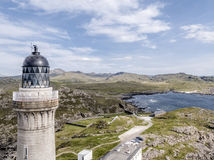Stunning aerial shot of Ardnamurchan Point, Great Britains most westerly point, with lighthouse and the beautiful white. Beaches and costline in the background Royalty Free Stock Image