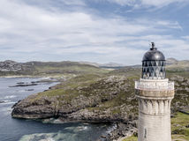 Stunning aerial shot of Ardnamurchan Point, Great Britains most westerly point, with lighthouse and the beautiful white. Beaches and costline in the background Stock Image