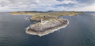 Stunning aerial shot of Ardnamurchan Point, Great Britains most westerly point, with lighthouse and the beautiful white Stock Image