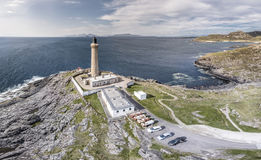 Stunning aerial shot of Ardnamurchan Point, Great Britains most westerly point, with lighthouse and the beautiful white Stock Photography
