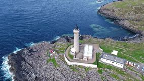 Stunning aerial shot of Ardnamurchan Point, Great Britains most westerly point, with lighthouse and the beautiful white stock video