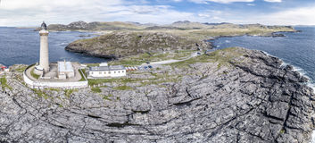 Stunning Aerial Shot Of Ardnamurchan Point, Great Britains Most Westerly Point, With Lighthouse And The Beautiful White Royalty Free Stock Photography