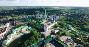 Stunning aerial view of the beautiful Christian churches. Stunning scenery. Religion and faith. Sunny day stock video