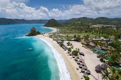 Stunning aerial view of a beautiful vacation destination, Lombok. Aerial view of a stunning beach resort in Lombok, Indonesia. Perfect honeymoon destination in Royalty Free Stock Photos