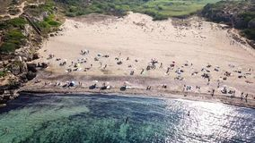 Stunning Aerial view of Calamosche Beach in Sicily, Italy stock video