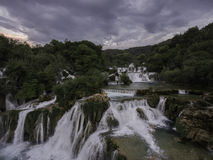 Stunning aerial view on KRKA National Park waterfalls Royalty Free Stock Photography
