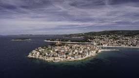 Stunning aerial view on Primosten town Royalty Free Stock Photo