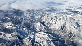 Stunning aerial view of snowy mighty mountains in Colorado. royalty free stock image