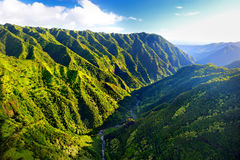 Stunning aerial view of spectacular jungles, Kauai Royalty Free Stock Images