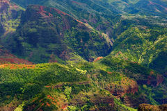 Stunning aerial view into Waimea Canyon Royalty Free Stock Photography