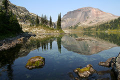 Stunning Alpine Lake. Ring Lake and Ring Mountain. Callaghan Valley. British Columbia. Canada Royalty Free Stock Images