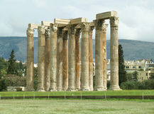 Stunning Ancient Remains of The Temple of Olympian Zeus, Athens City center Stock Image