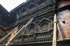Stunning architecture in the Kumari Ghar temple of the living goddess Kumari Devi after major earthquake in 2015, Kathmandu, Nepal Stock Photo