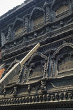 Stunning architecture in the Kumari Ghar temple of the living goddess Kumari Devi after major earthquake in 2015, Kathmandu, Nepal Royalty Free Stock Photo