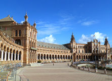 Stunning Architecture of Plaza de Espana under the Blue Sky, Seville. Spain Stock Photo