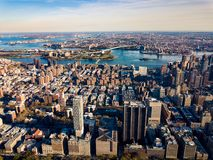 Stunning areal view over New York and Manhattan island. At sunset stock images