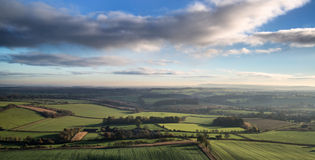 Stunning Autumn morning panorama over countryside landscape Royalty Free Stock Photo