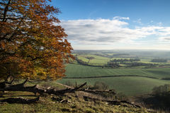 Stunning Autumn morning view over countryside landscape Royalty Free Stock Photography