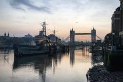 Beautiful Autumn sunrise landscape of Tower Bridge and River Tha Royalty Free Stock Photos