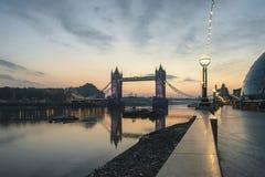 Beautiful Autumn sunrise landscape of Tower Bridge and River Tha Royalty Free Stock Image