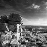 Stunning Autumn sunset landscape image of view from Leather Tor stock photos