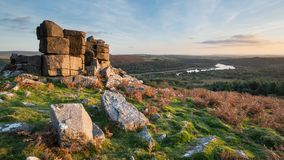 Stunning Autumn sunset landscape image of view from Leather Tor. Beautiful Autumn sunset landscape image of view from Leather Tor towards Burrator Reservoir in royalty free stock images