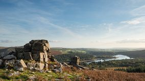 Stunning Autumn sunset landscape image of view from Leather Tor. Beautiful Autumn sunset landscape image of view from Leather Tor towards Burrator Reservoir in stock images