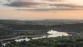 Stunning Autumn sunset landscape image of view from Leather Tor. Beautiful Autumn sunset landscape image of view from Leather Tor towards Burrator Reservoir in royalty free stock photos